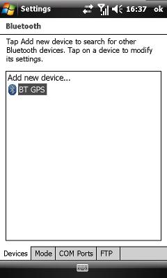 GPS prijímač sa objaví v zozname