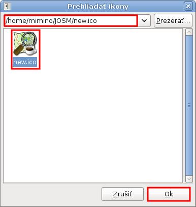 Výber novej ikony pre JOSM